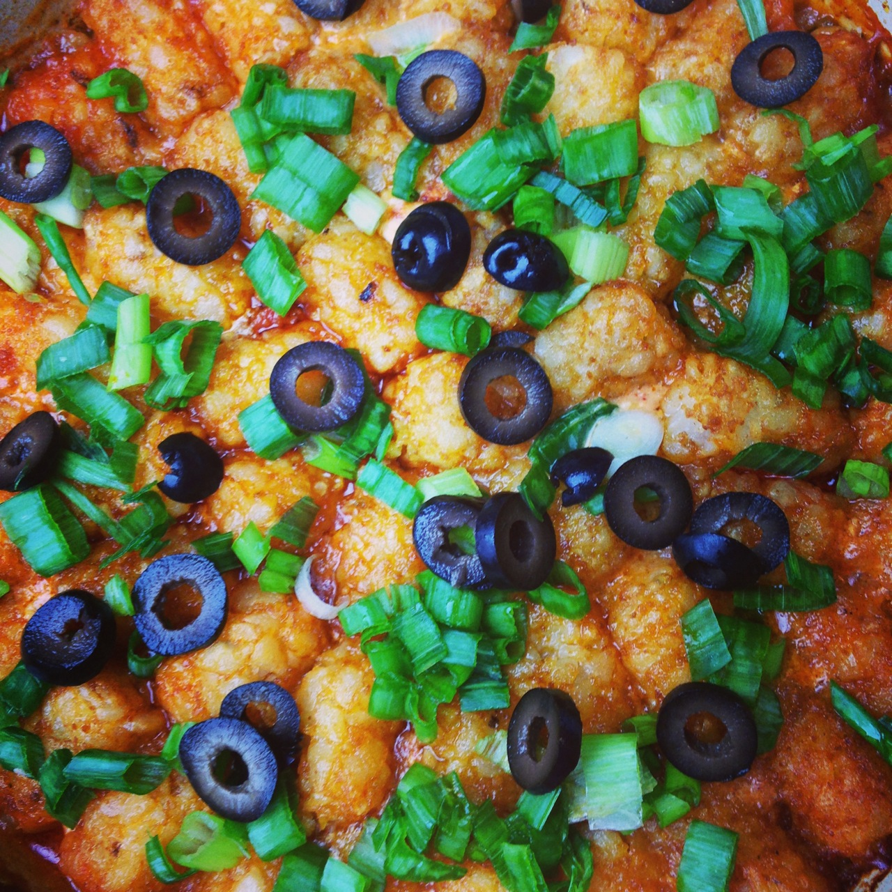 Taco Tater Tot Casserole using Palmetto Cheese