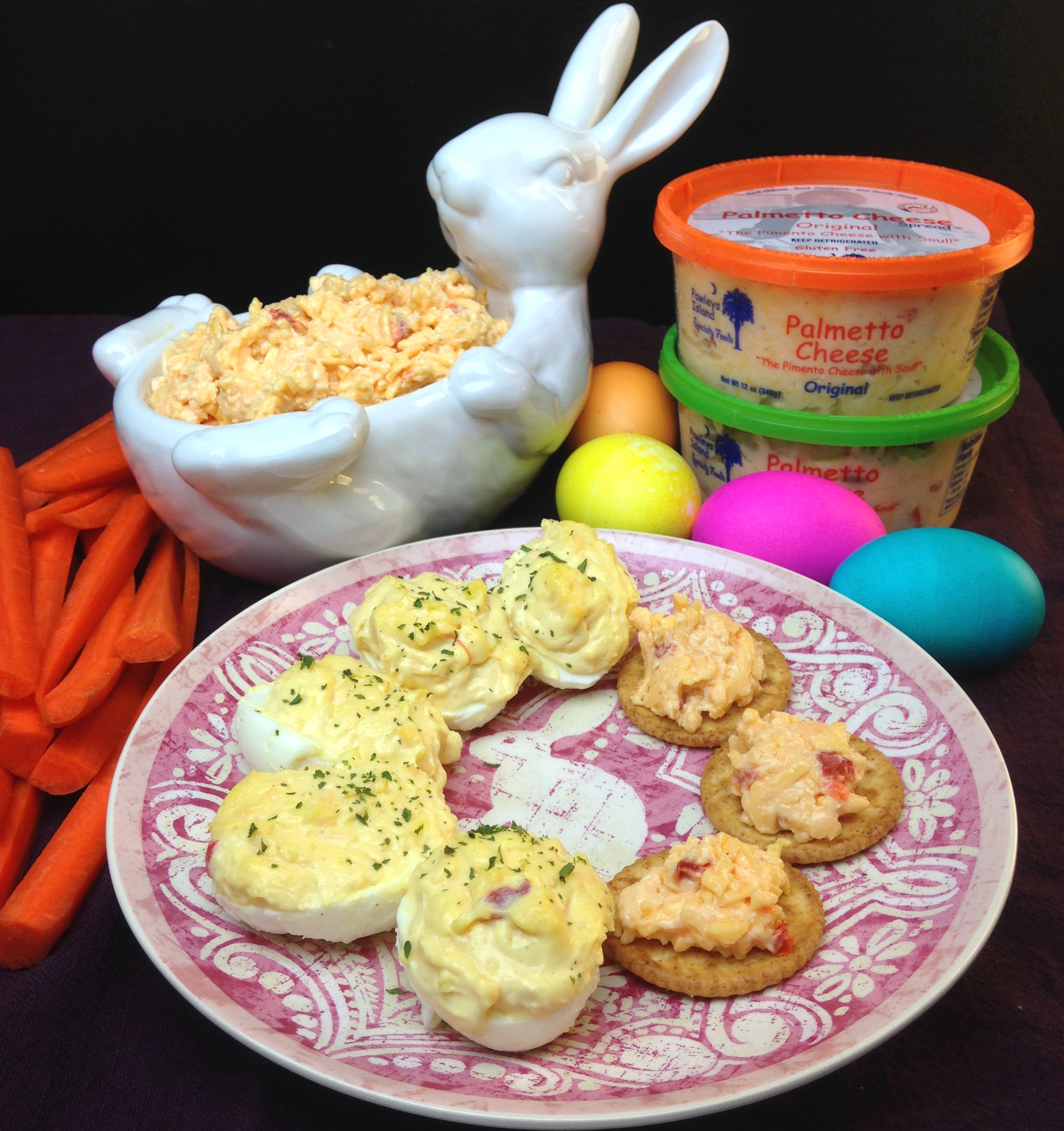 Palmetto Cheese deviled eggs with pimento cheese