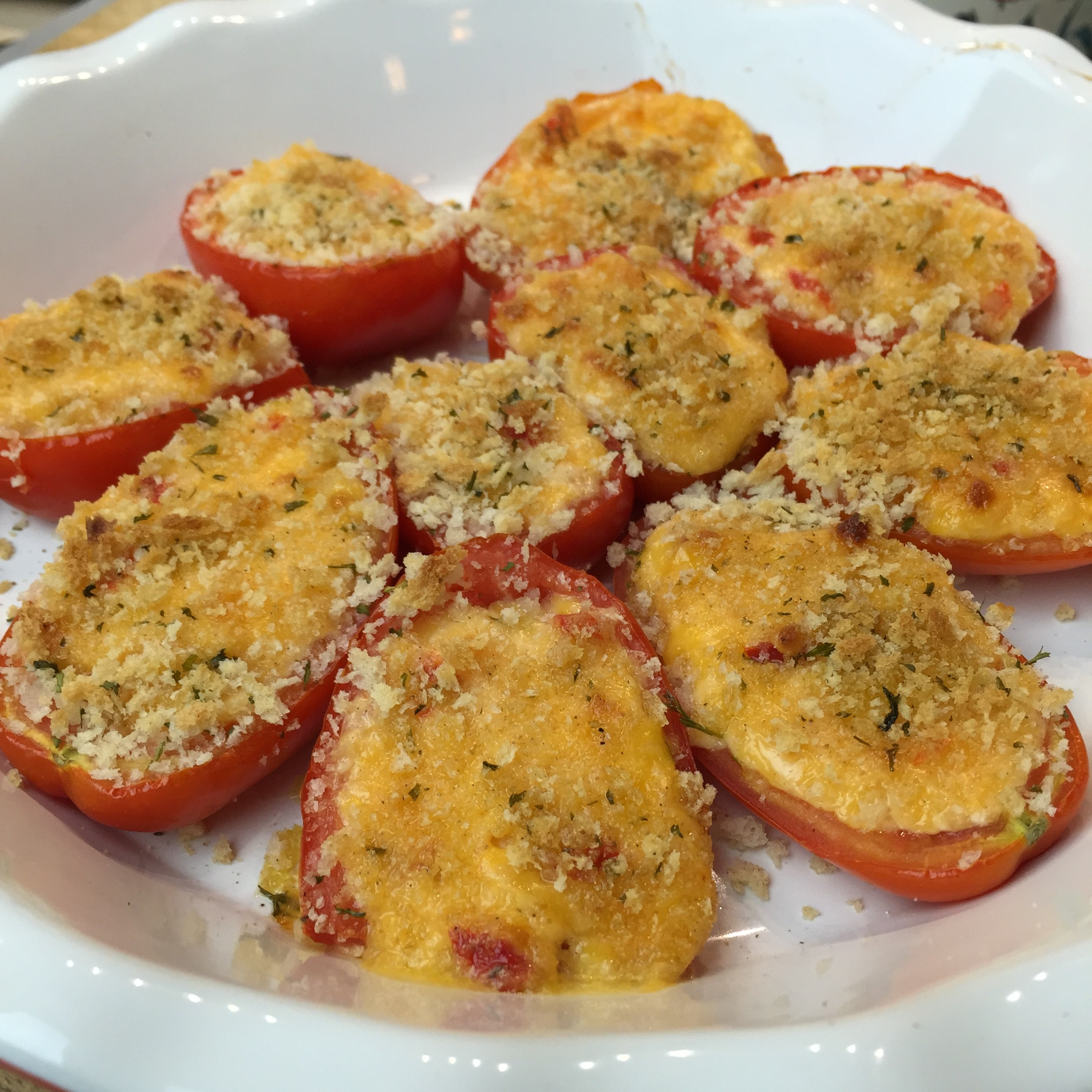 Au Gratin Tomatoes with Palmetto Cheese Pimento Cheese