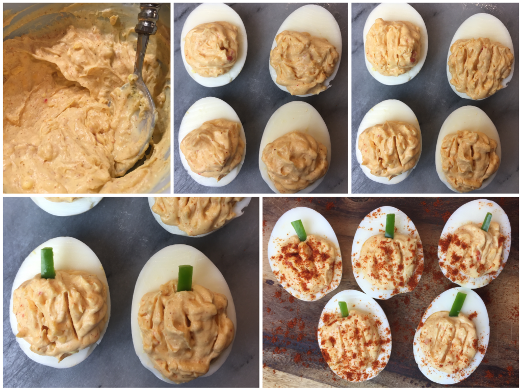 Palmetto Cheese Deviled Pumpkin Eggs